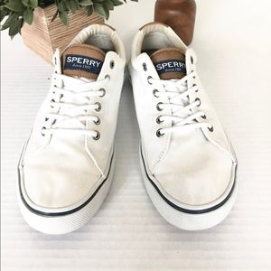 Sperry Men's White and Brown Canvas Shoes Size 8.5